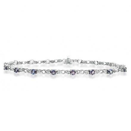 9K White Gold 0.17ct Diamond & Tanzanite Bracelet, G1405